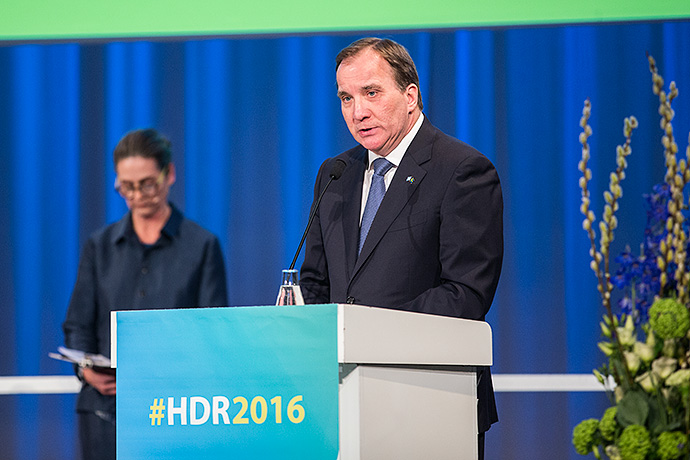 "Statsminister Stefan Löfven vid lanseringen av ""Human Development Report 2016 - Human Development for Everyone""."