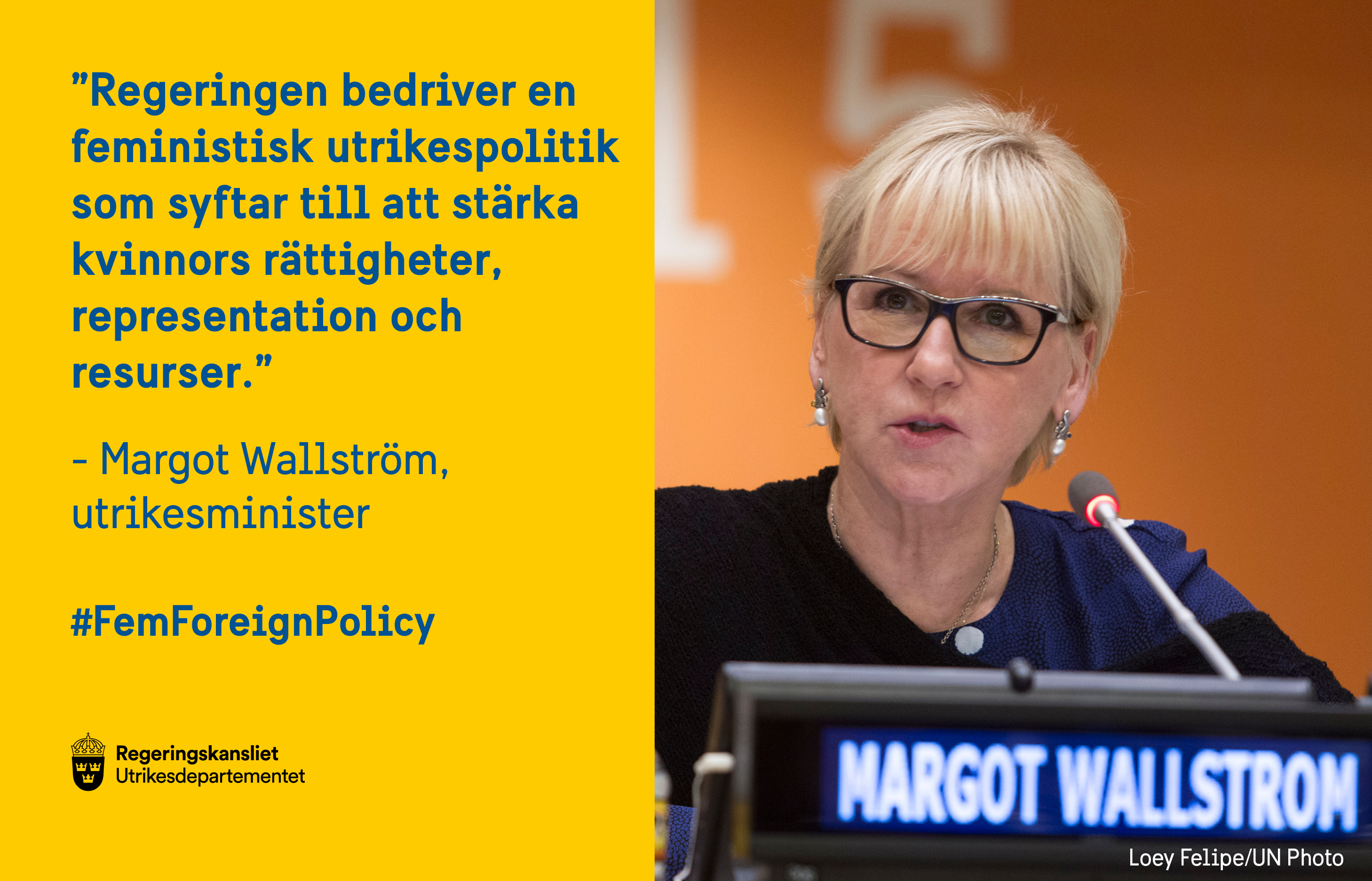 Bildtweet med utrikesminister Margot Wallström